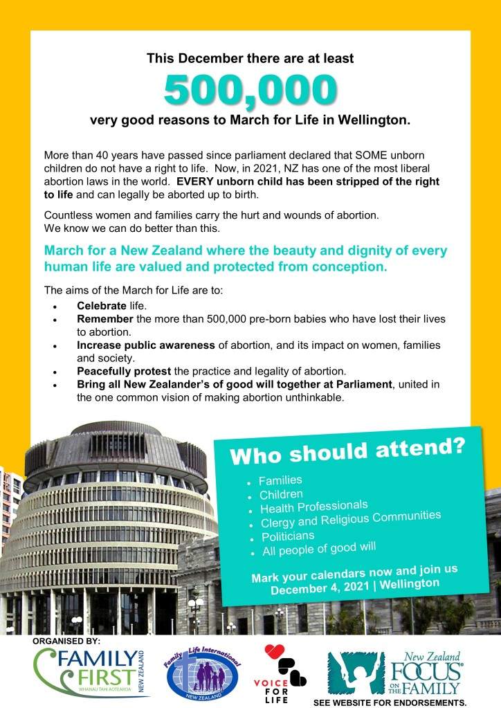 National March for Life, Saturday 4 December 2021, Wellington